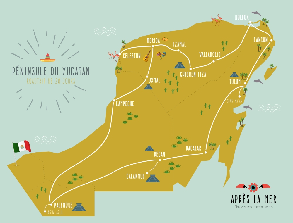 carte-yucatan-roadtrip-mexique-chiapas-itineraire-20 jours