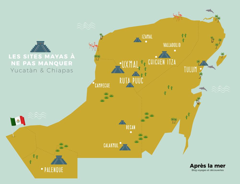 La carte des sites sites mayas au Yucatan eu aChiapas
